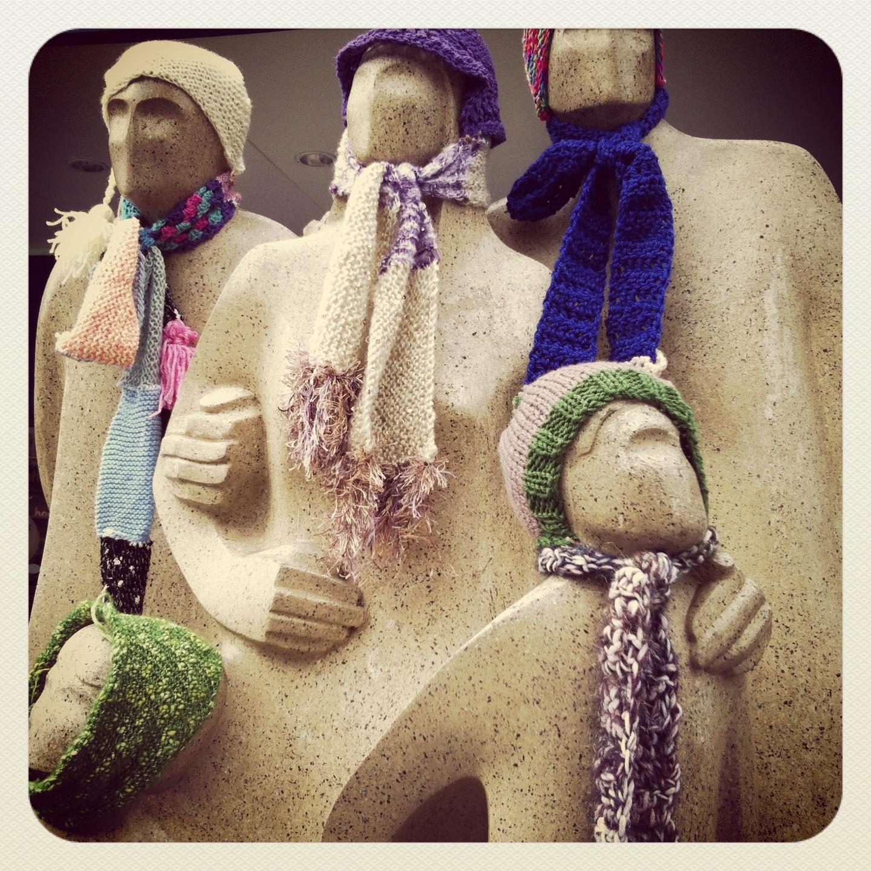 Yarn bombing family day